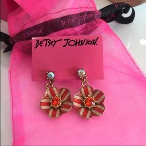 Betsey Johnson Yacht Club Striped Earrings NWT